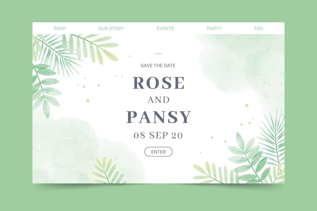 Plantilla de página de aterrizaje de boda floral