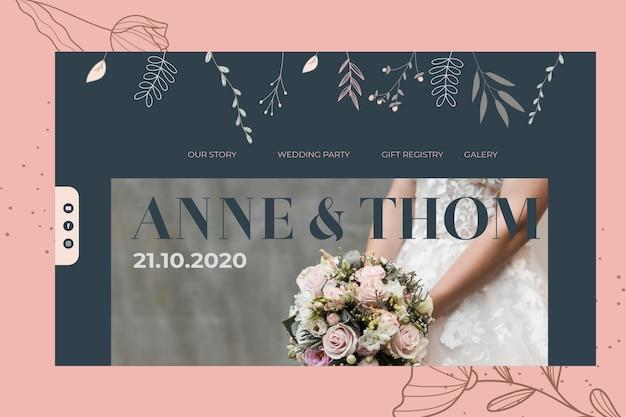 Plantilla de página de aterrizaje para boda