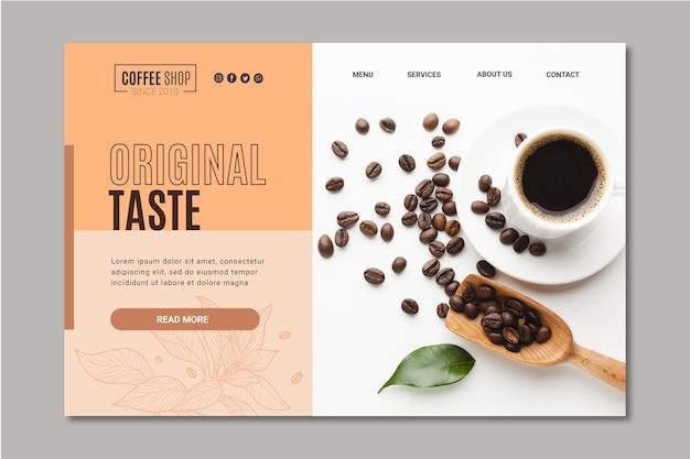 Plantilla de página de aterrizaje de café