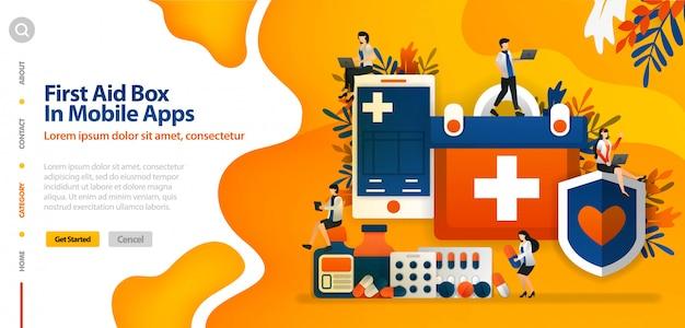 Plantilla de página de aterrizaje con caja de primeros auxilios en la aplicación móvil, para proteger la salud del paciente y el concepto de ilustración de vector de confort