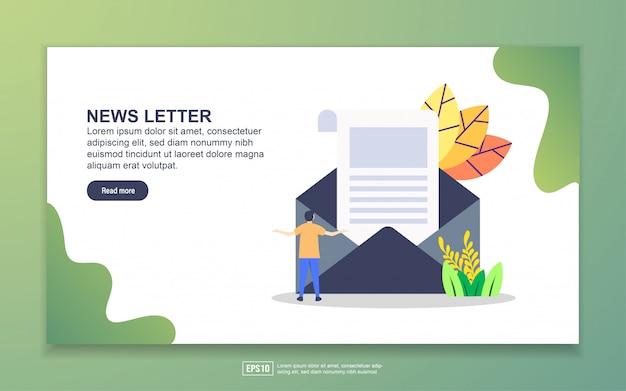 Plantilla de página de aterrizaje de carta de noticias. concepto de diseño plano moderno de diseño de páginas web para sitios web y sitios web móviles.
