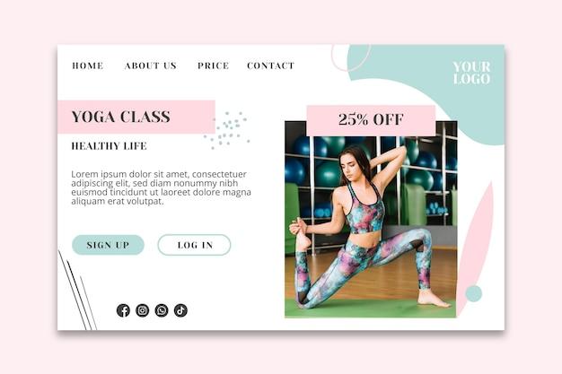 Plantilla de página de aterrizaje de clase de yoga