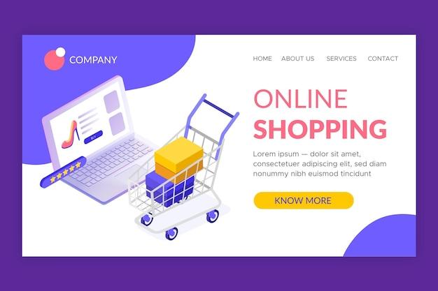 Plantilla de página de aterrizaje de compras isométrica en línea