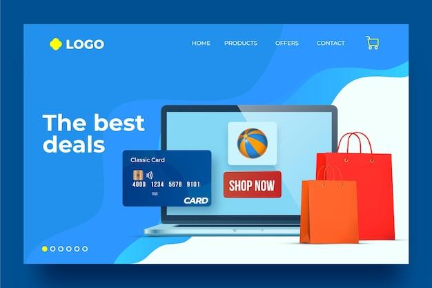Plantilla de página de aterrizaje de compras en línea realista
