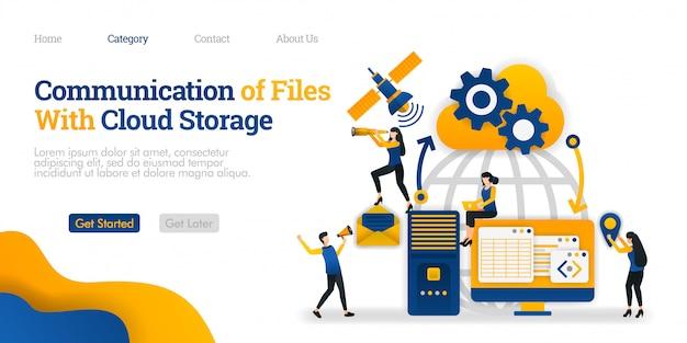 Plantilla de página de aterrizaje. comunicación de file with cloud storage entre dispositivo personal, almacenamiento y satélite.