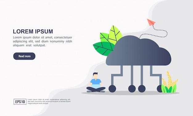 Plantilla de página de aterrizaje. concepto computacional de la ilustración de la nube con el carácter.