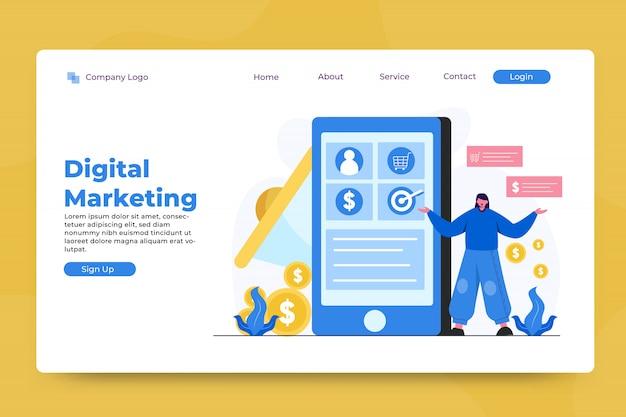 Plantilla de página de aterrizaje de concepto de marketing digital