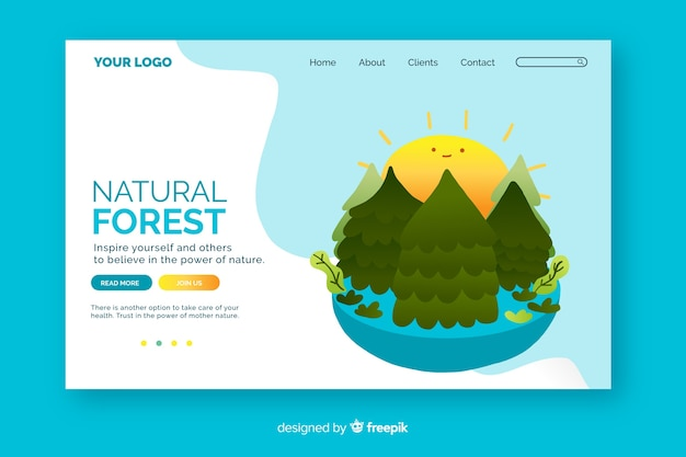Plantilla de página de aterrizaje con concepto de naturaleza
