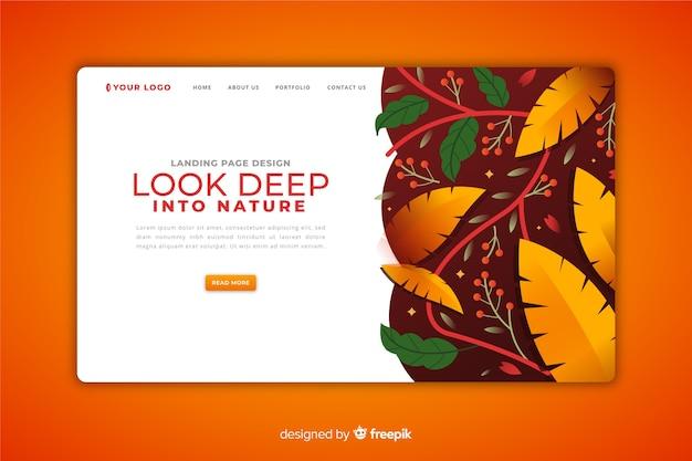 Plantilla de página de aterrizaje de concepto de naturaleza
