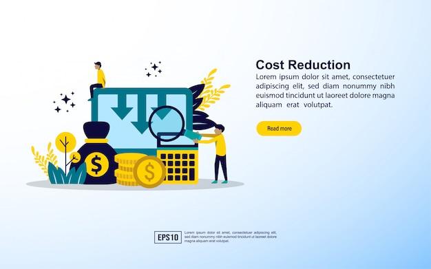 Plantilla de página de aterrizaje. concepto de reducción de costes. concepto de reducción de costes empresariales.