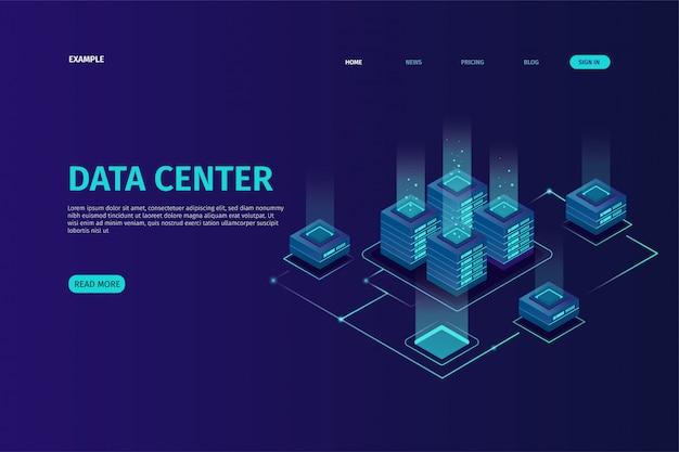 Plantilla de página de aterrizaje con concepto visual de datos