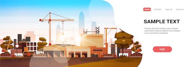 Plantilla de página de aterrizaje de construcción de ciudad moderna