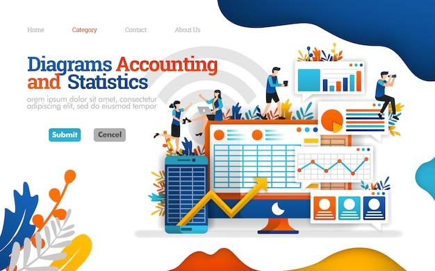 Plantilla de página de aterrizaje. contabilidad y diagrama de estadísticas ayudan a aumentar el rendimiento del negocio, ilustración vectorial