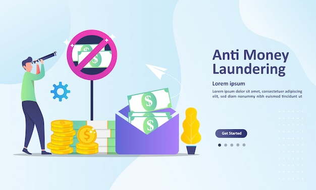 Plantilla de página de aterrizaje contra el lavado de dinero