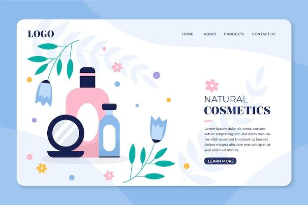 Plantilla de página de aterrizaje de cosméticos de naturaleza