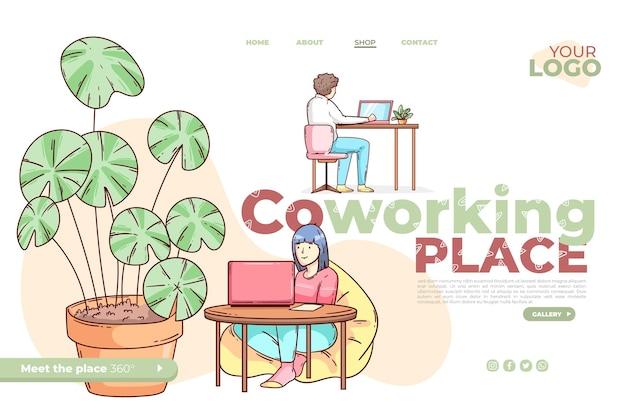 Plantilla de página de aterrizaje de coworking dibujada a mano