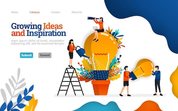 Plantilla de página de aterrizaje. creciendo ideas e inspiración para los negocios. concepto de ilustración vectorial de trabajo en equipo