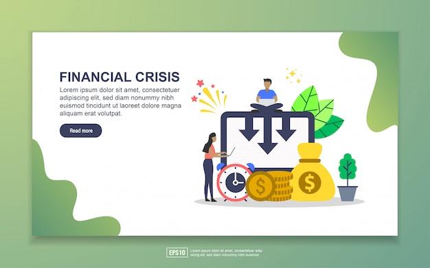 Plantilla de página de aterrizaje de crisis financiera. concepto moderno de diseño plano de diseño de páginas web para sitios web y sitios web móviles