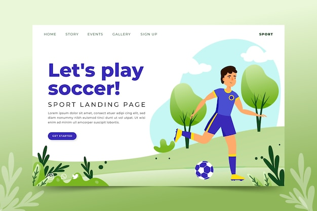 Plantilla de página de aterrizaje de deportes al aire libre
