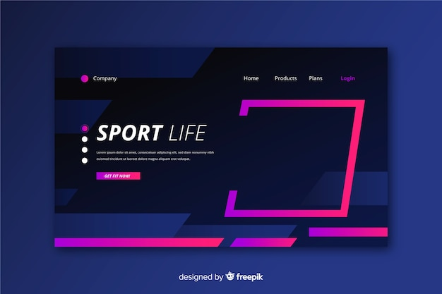 Plantilla de página de aterrizaje deportiva creativa