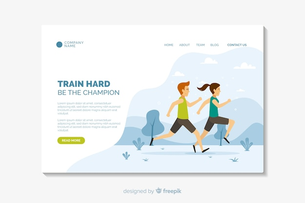 Plantilla de página de aterrizaje deportiva de diseño plano