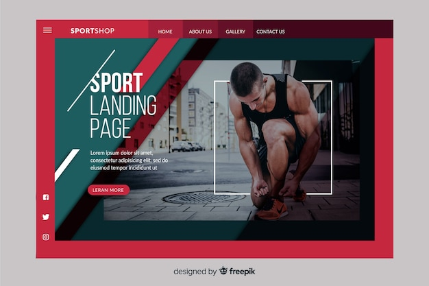 Plantilla de página de aterrizaje deportivo con foto