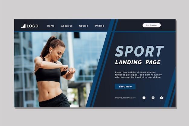 Plantilla de página de aterrizaje deportivo con imagen