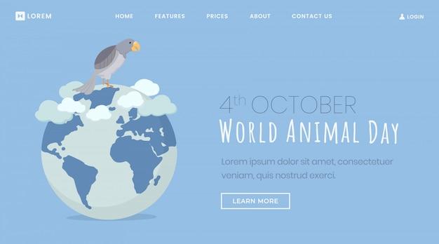 Plantilla de página de aterrizaje del día de protección de animales