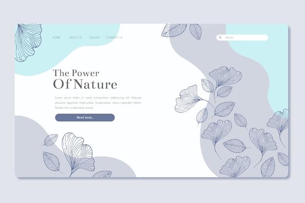 Plantilla de página de aterrizaje dibujada a mano de naturaleza