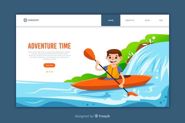 Plantilla de página de aterrizaje de diseño plano de aventura