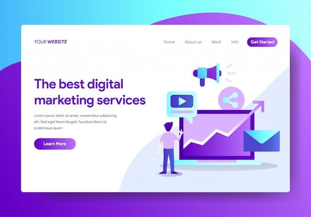 Plantilla de página de aterrizaje del diseño de servicios de marketing digital