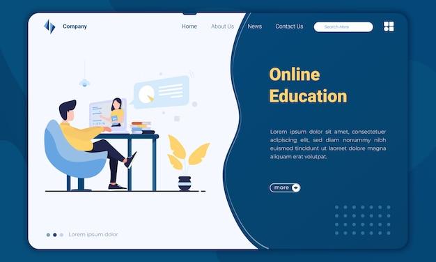 Plantilla de página de aterrizaje de educación en línea de diseño plano
