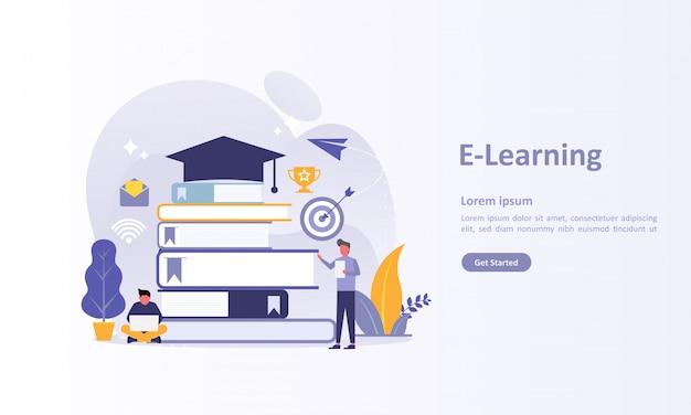 Plantilla de página de aterrizaje de educación en línea.