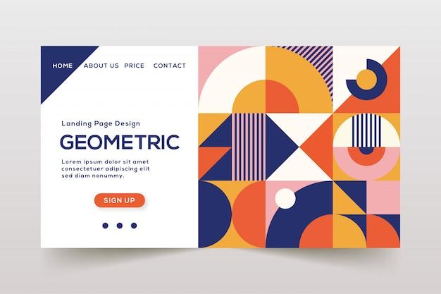 Plantilla de página de aterrizaje de elementos geométricos