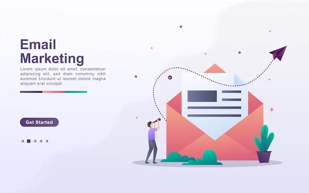 Plantilla de página de aterrizaje de email marketing en estilo de efecto degradado