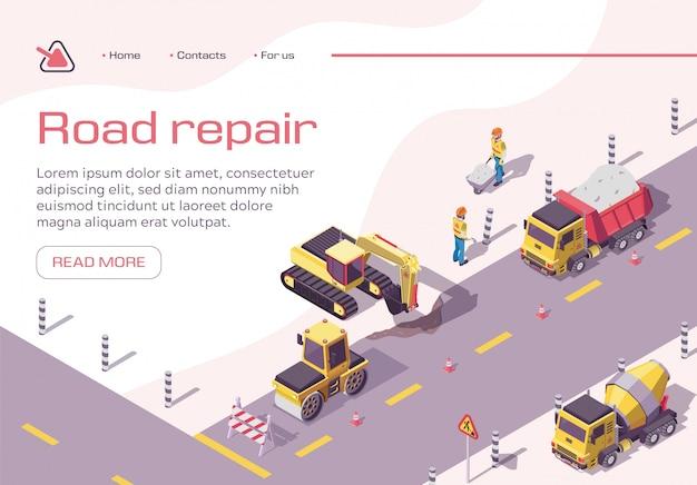 Plantilla de página de aterrizaje con equipo de construcción y trabajadores en carretera.
