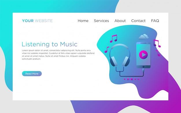 Plantilla de página de aterrizaje con escuchar la ilustración de la música