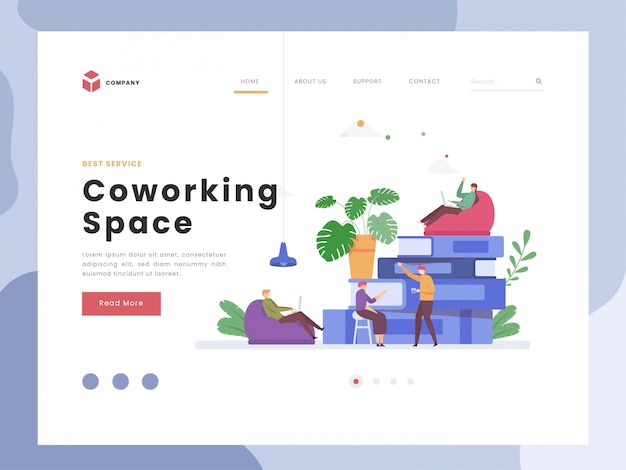 Plantilla de página de aterrizaje del espacio de coworking