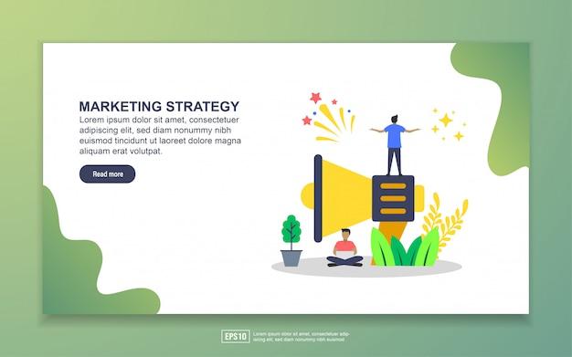 Plantilla de página de aterrizaje de estrategia de marketing. concepto moderno de diseño plano de diseño de páginas web para sitios web y sitios web móviles