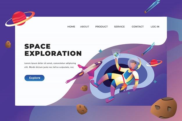 Plantilla de página de aterrizaje de exploración espacial