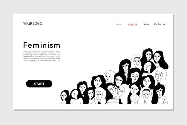 Plantilla de página de aterrizaje del feminismo. plantilla web de página de destino
