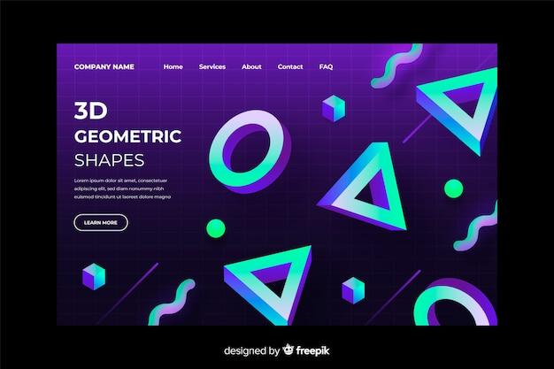 Plantilla de página de aterrizaje geométrica degradado 3d