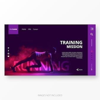 Plantilla de página de aterrizaje de gimnasio y entrenamiento