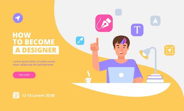 Plantilla de página de aterrizaje de graphic designer concept