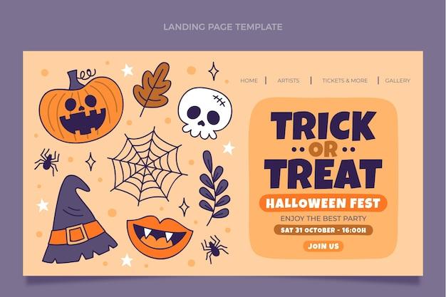 Plantilla de página de aterrizaje de halloween dibujada a mano