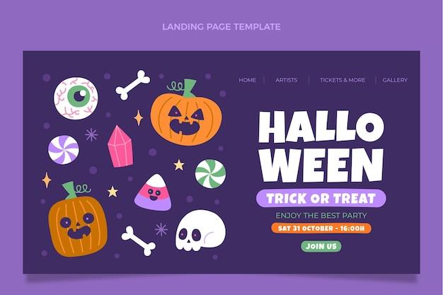Plantilla de página de aterrizaje de halloween plana dibujada a mano