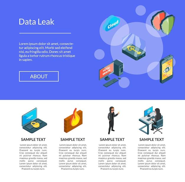 Plantilla de página de aterrizaje de iconos de datos isométricos y seguridad informática