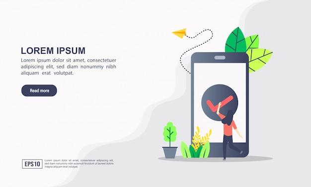 Plantilla de página de aterrizaje. ilustración vectorial de desarrollo de aplicaciones y aplicación de marketing digital con el concepto de tecnología de marketing de