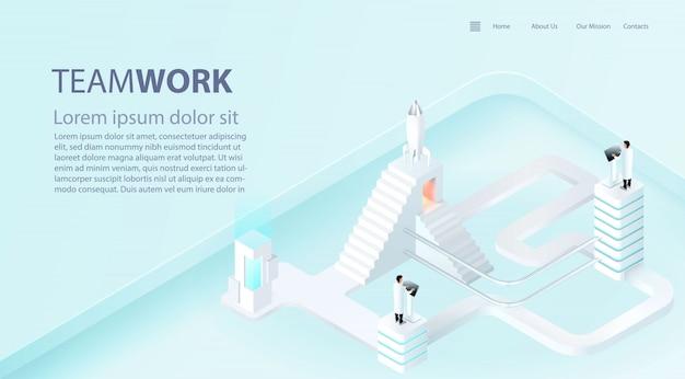 Plantilla de página de aterrizaje de impulso de éxito empresarial. concepto de trabajo en equipo e industria 4.0. vector realista 3d