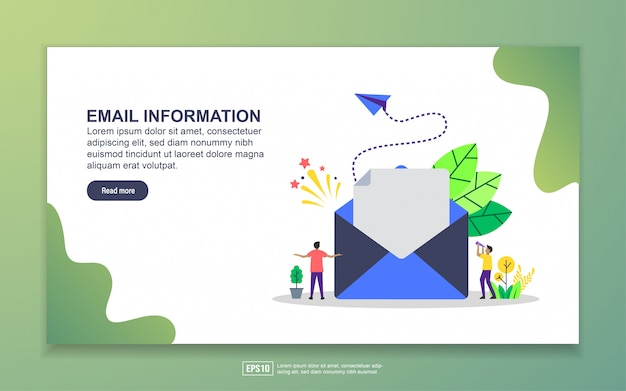 Plantilla de página de aterrizaje de información de correo electrónico. concepto moderno de diseño plano de diseño de páginas web para sitios web y sitios web móviles